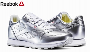 Reebok Silver & White Classic Leather Metallic Grade School Shoes For Women - Size: 36