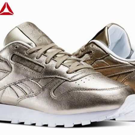 2c8d7fabfb97 Reebok Pearl Metallic   Gold Classic Leather Melted Metals Shoes For Women  - Size  36 - Makhsoom