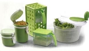 Kitchen Set Of Green Plastic Square Spice Jars Food Storages & Salad Spinner 6 Pcs