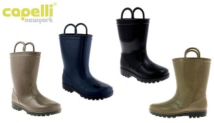 Capelli New York Shiny Solid Colored Jelly Rainboots With Handles For Kids - Black - Size: 20-22