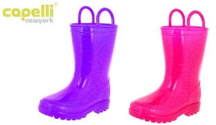 Capelli New York Shiny Solid Opaque Casual Rainboot With Handles For Girls - Purple - Size: 20-22
