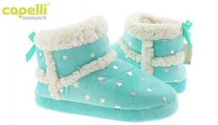 Capelli New York Girls Soft Mint Boa Indoor Slippers For Girls - Size: 20-22