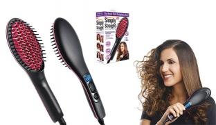 Simply Straight Black & Pink Ceramic Hair Straightening Brush 50 W