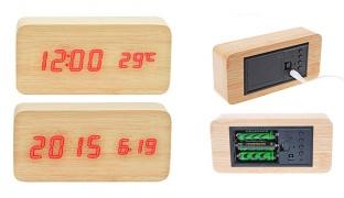 Dual-Screen Rectangular Beige Wooden LED Clock