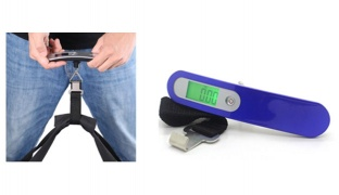 Stainless Steel Blue Digital Luggage Scale With Weaving Max 50kg