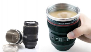 Camera Lens Stainless Steel Self Stirring Insulated Coffee Mug With Easy Lid