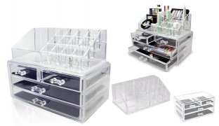 Design Acrylic Jewelry and Cosmetic Storage Display 4 Drawers Box Set