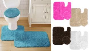 Set Of Finest Microfiber Bathroom Rugs 3 Pcs - Fuschia