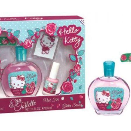 Hello Kitty 4 Pcs Gift Set EDT 100 Ml Nail Polish File Glitter Sticker For Kids