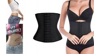 Abdomen Black Waistband Slimming Belt Hot Sweating Body Shapers - Size: XXL