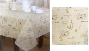 Mocha Cappuccino Round Vinyl Tablecloth 178 cm