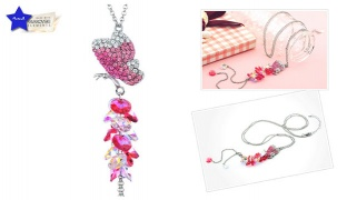 Swarovski Elements Crystal Rhinestone Pink Butterfly Necklace For Women