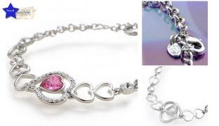 Swarovski Elements Pink Heart Bracelet For Women
