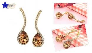 Swarovski Elements Gold Pated Drop Earrings For Women