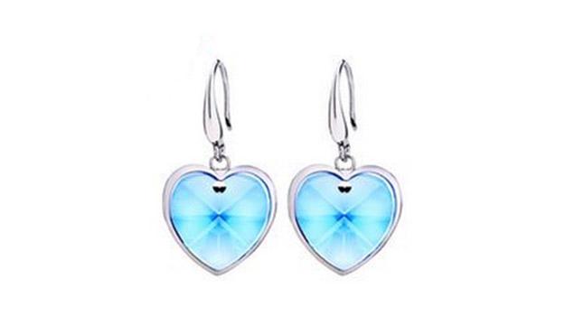 f7f08233c Swarovski Elements Heart Drop Earrings For Women - Blue - Makhsoom
