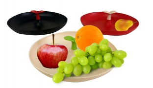 Plastic Fruit Serving Plate With Handle - Red