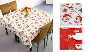 Christmas Santa Printed Square Fabric Tablecloth - Red