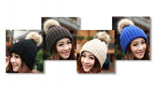 Winter Knitted Pom Pom Beanie For Women - Blue
