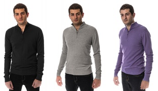 Comodo Cotton Half Zipper Sweater For Men - Medium - Black
