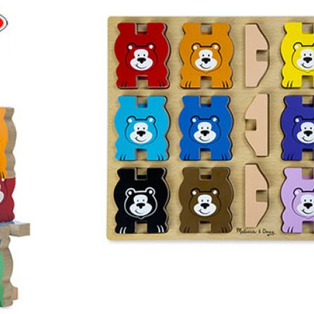 Melissa Doug Bears Wooden Chunky Puzzle And Stacking Toy With Storage Tray