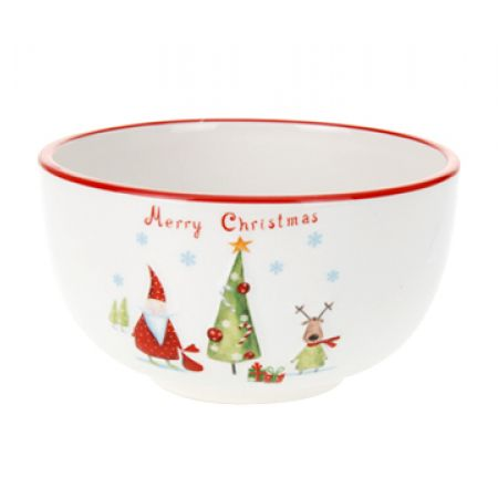 Itemz Dolomite Bowl With Embossed Merry Christmas Design
