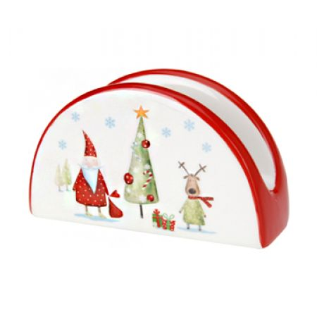 Itemz Dolomite Napkin Holder With Embossed Merry Christmas Design