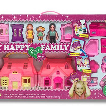 2 In 1 Happy Family Carry Along Mini House 15 Pcs