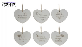 Itemz Heart Wood Hanging Christmas Tree Decoration 9 cm - Do more of what makes you happy