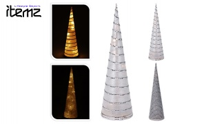 Itemz Christmas Cone Tree Decoration With Strass &Led Light 47 cm - Plain
