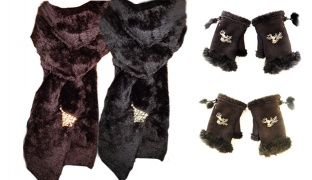 Set Of Russian Women Accessories Faux Fur Solid Neck Collar Scarf With Smart Phone Faux Fur Gloves Mittens & Fashion Brooch 4 Pcs - Black