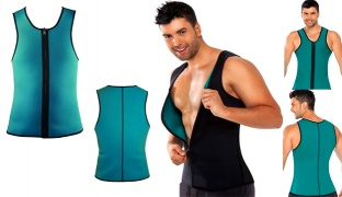 Hot Shapers Blue Neoprene Slimming Vest Corset With Zipper For Men - Large