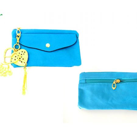 Corine.N Turquoize Phone & Makeup Pouch With Hearts Keychain