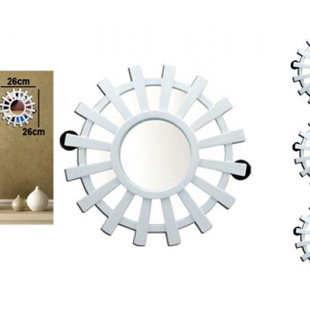 Elegant Round White Wall Mirror 26 cm