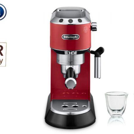 Delonghi Red Dedica 15-Bar Pump Espresso Machine 1300 W + Free Christmas Gift Set Of 2 Delonghi Espresso Thermo Glasses