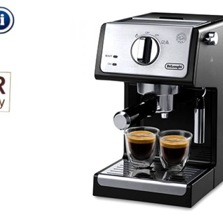 Delonghi Black & Stainless Steel 15-Bar Pump Espresso & Cappuccino Machine + Free Christmas Gift Set Of 2 Delonghi Espresso Thermo Glasses