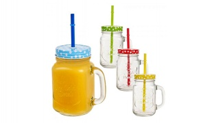 Multicolor Mason Drinking Jar With Handle Straw & Led Light - Yellow