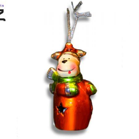 Itemz Porcelaine & Metallic Reindeer Hanging Christmas Tree Decoration