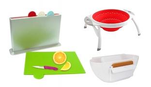 Kitchen Set Of Silicone Strainer Scrap & Trap & Multi Color Index Chopping Board