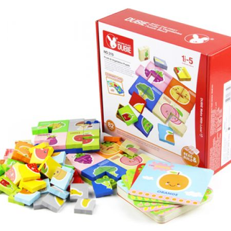 Fruit & Vegetable Puzzles Plastic Blocks With Baseplate Educational Toys