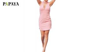 Papaya Baby Pink Dress With Choker For Women Size: S/M