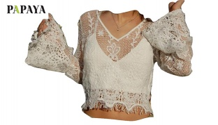 Papaya White Crochet Crop Top With Bell Sleeves For Women Size: S/M