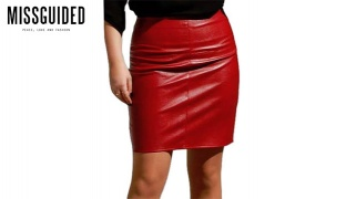 Missguided Wine Leather Mini Skirt For Women Size: S/M