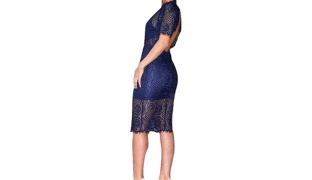 Eyelash Lace Navy Blue Midi Dress With Open Back For Women Size: Small