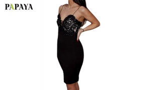 Papaya Bodycon Black Dress With Lace Details For Women Size: Small