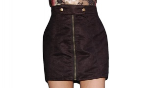 Black Suede Mini Skirt With Front Zipper For Women Size: S/M