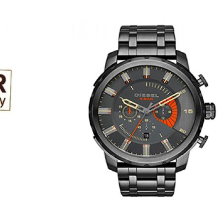 Diesel Stronghold Chronograph Grey Dial Grey Ion-plated Round Watch For Men
