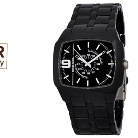 Diesel Analog Black Dial Black Acetate Square Watch For Men