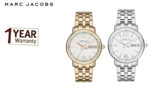 Marc Jacobs Fergus Stainless Steel Round Watch For Women - Silver