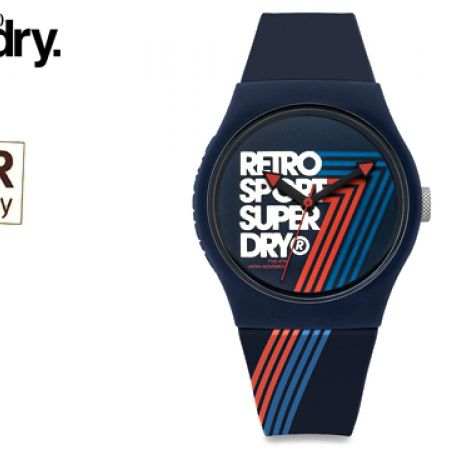Superdry Urban Retro Sport Rubber Strap Round Watch For Men