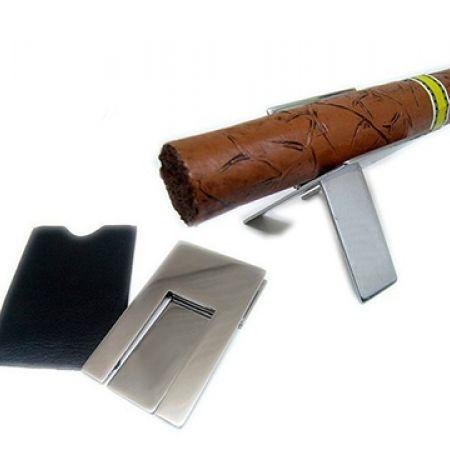 Stainless Steel Pocket Foldable Cigar Holder With Black Bag
